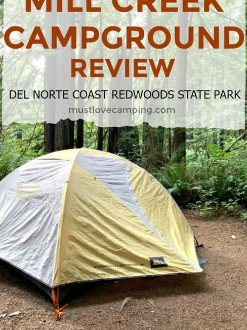 tent set up on site in Mill Creek Campground and large pinterest graphic