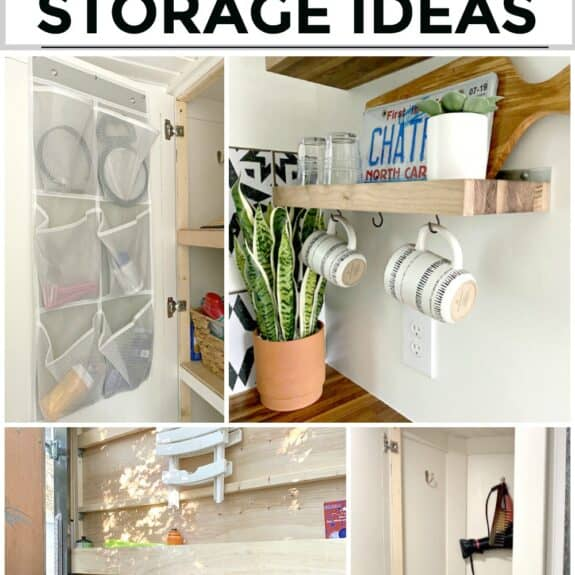 collage of organization ideas inside a tiny RV and a large graphic