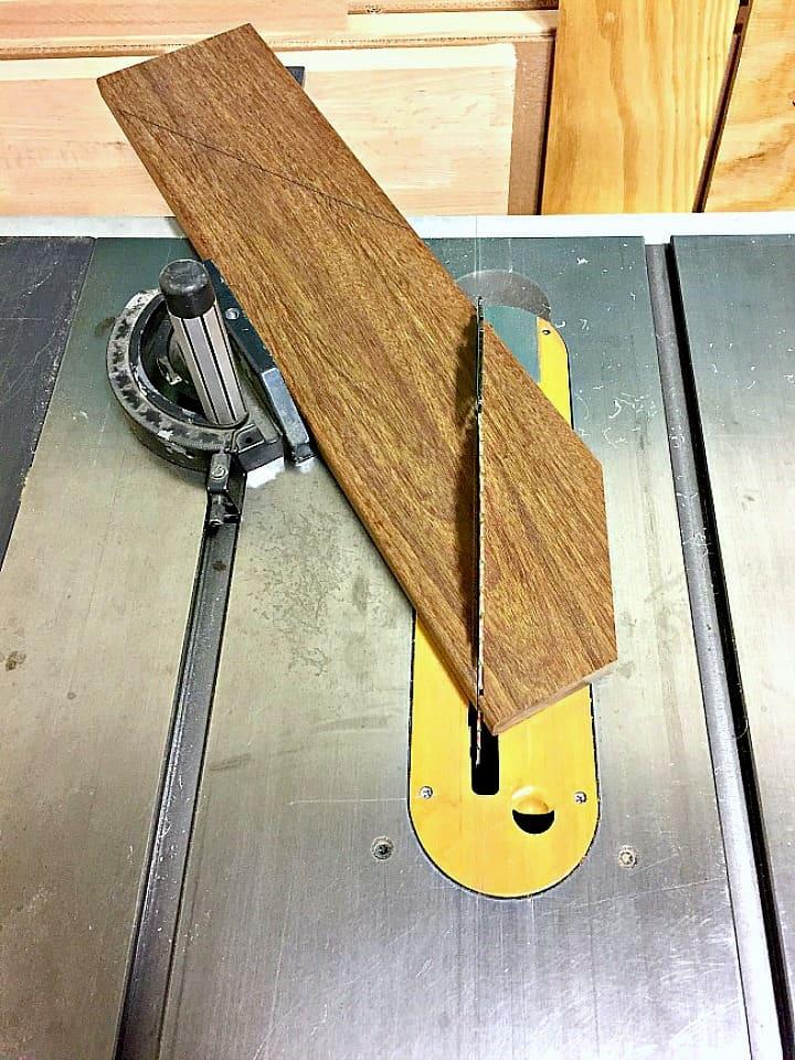 cutting ipe wood plank on chop saw