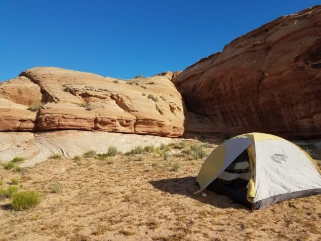 tent on campsite on BLM land