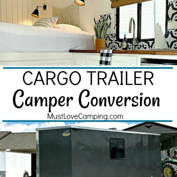 collage of inside of cargo trailer and outside plus a large graphic