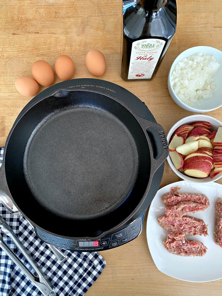 ingredients to make camping breakfast skillet, eggs, potatoes and sausage
