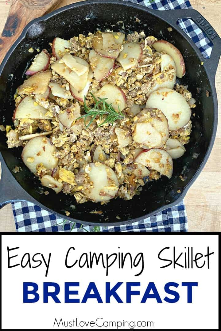camping breakfast skillet of eggs, potatoes and sausage and large graphic
