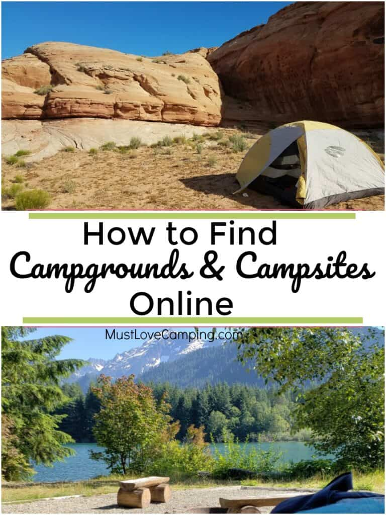 tent campsites in the mountains and large pinterest graphic