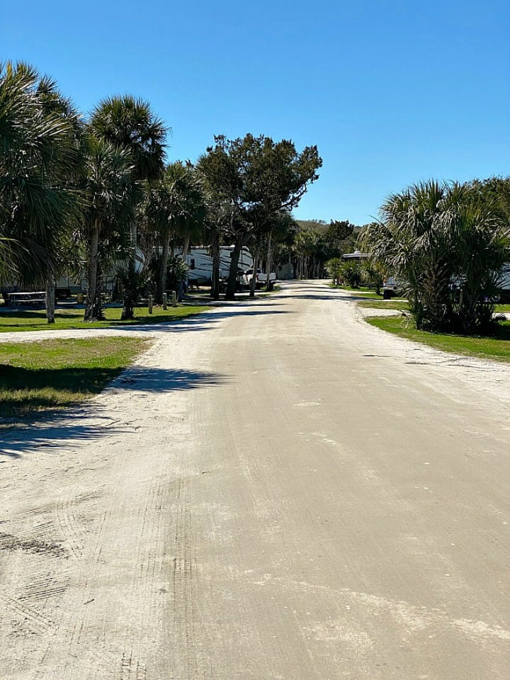 sandy road in beachside campground