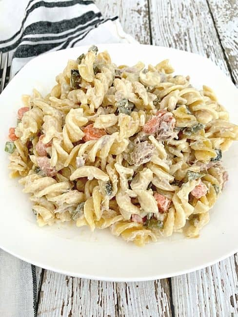 tuna pasta salad on white plate