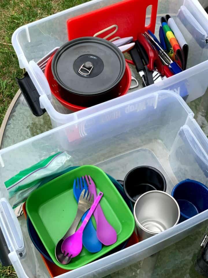 kitchen gear in clear storage bins