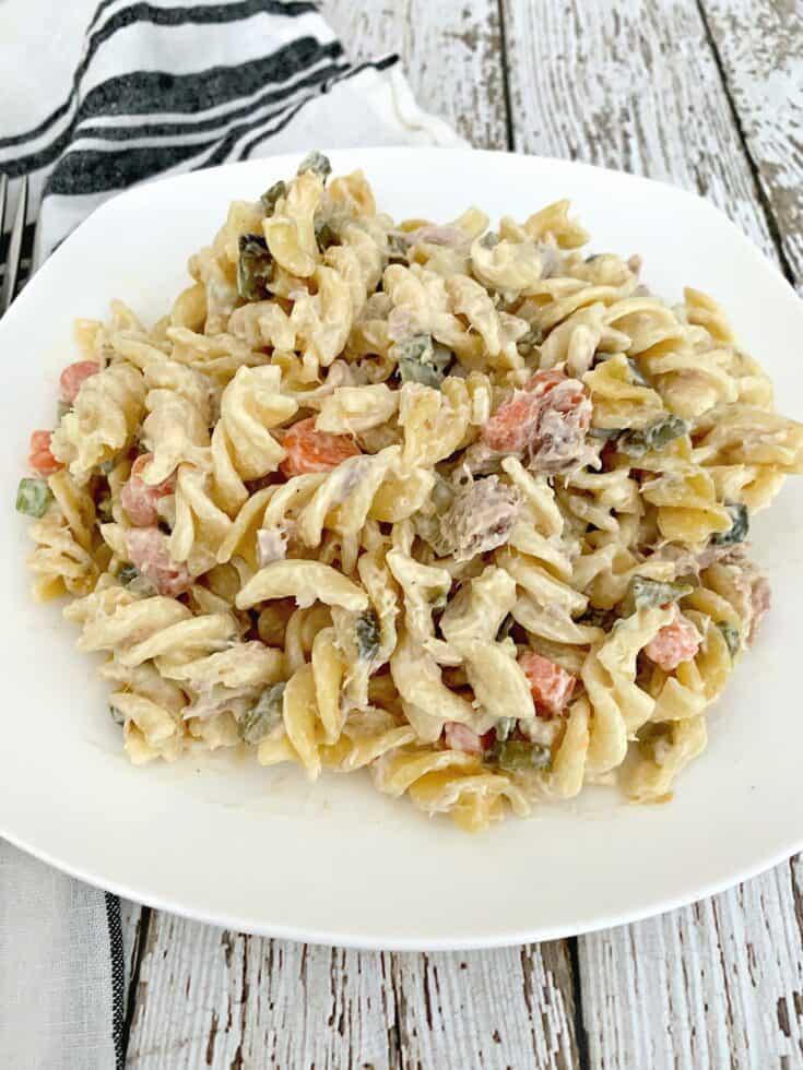 tuna pasta salad on white plate