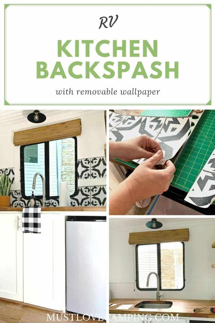 collage of wallpaper backsplash in RV kitchen