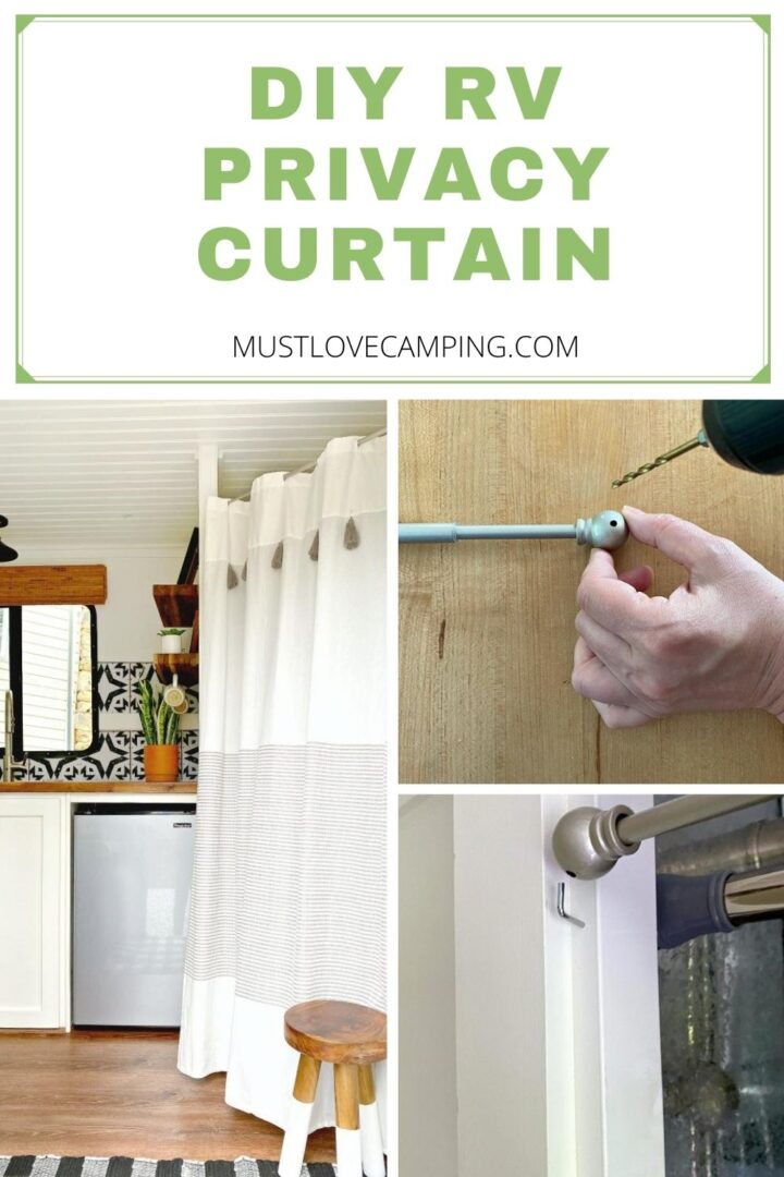 collage of DIY RV privacy curtain and large graphic