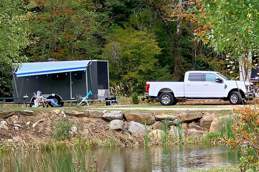 camper and truck at campsite