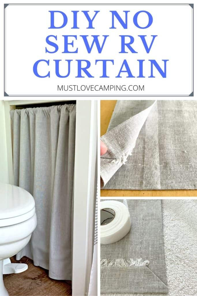 collage of no sew curtain in an RV bathroom