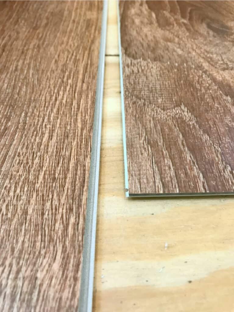 closeup of vinyl floor planks