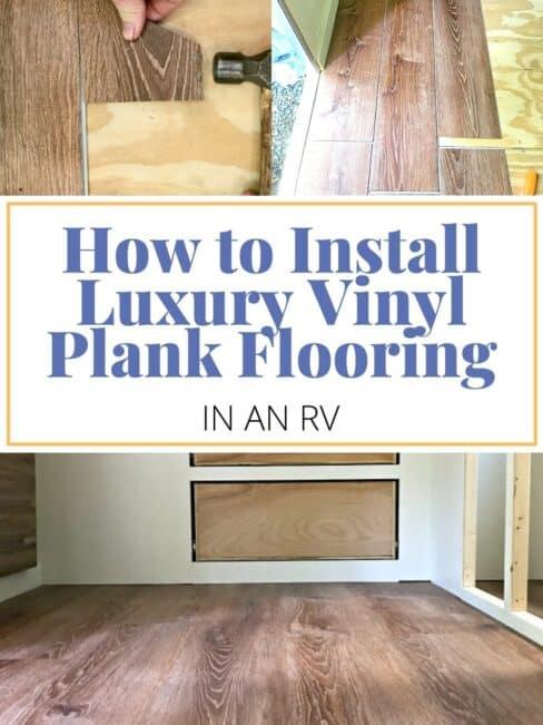 collage of vinyl plank flooring installation